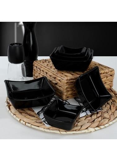 Keramika Keramika Siyah Sandal Çerezlik/Sosluk 8/10/12 Cm 6 Adet Renkli